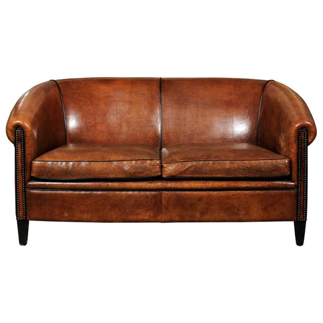 French Turn of the Century Brown Leather Sofa with Nailhead Trim, circa 1900 For Sale - Image 12 of 12