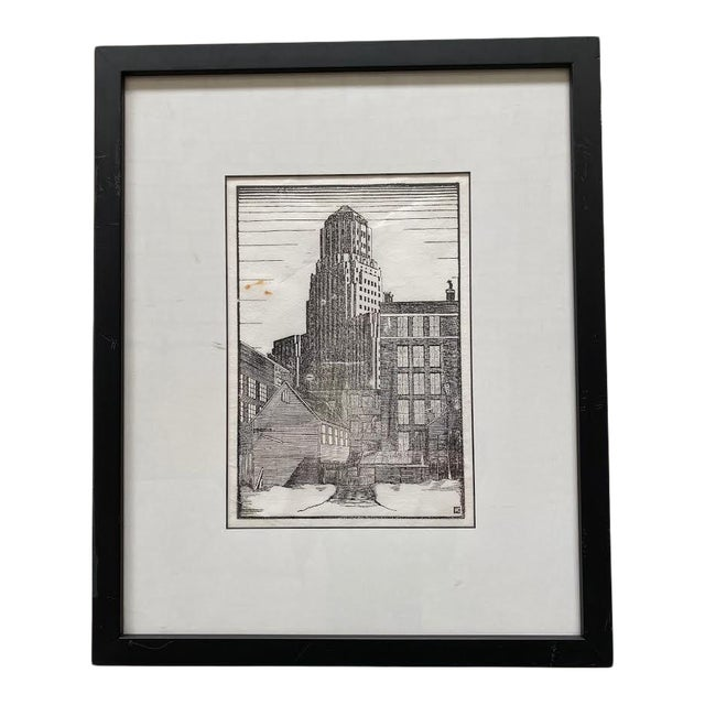 Mid 20th Century Art Deco Style Architectural Landscape Woodcut Print, Framed For Sale