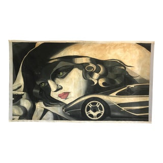 Large Scale 1980s Painting in Style of Tamara De Lempicka