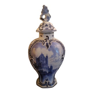 1886 Royal Delft Ginger Jar Vase For Sale