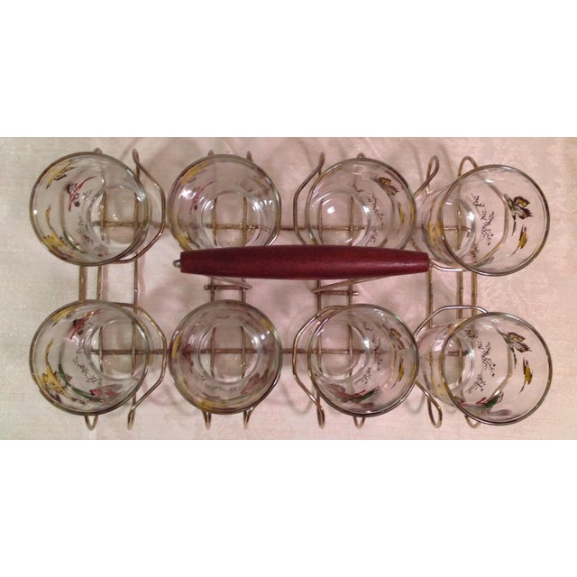 Mid-Century Modern Duck Glasses With Caddy- Set of 8 - Image 5 of 6