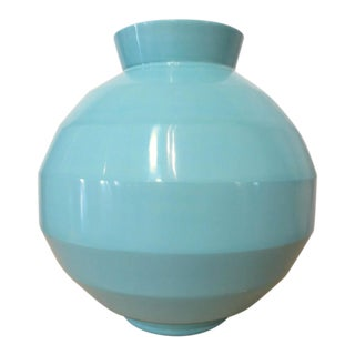 Robert Kuo Turquoise Hand Blown Peking Glass Vase, Signed For Sale