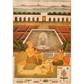 Rare 1950 Prince Sayyid Niyaz Khan byRai Bitchitr , Original Gold-Leafed Lithograph For Sale