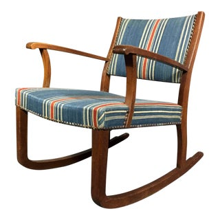 1940s Danish Oak and Wool Stripe Rocking Chair For Sale