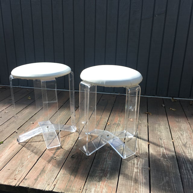 Mid-Century Modern Lucite Vanity Stools- a Pair For Sale - Image 11 of 13