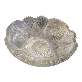 1950s Mid-Century Cut Crystal Bowl For Sale