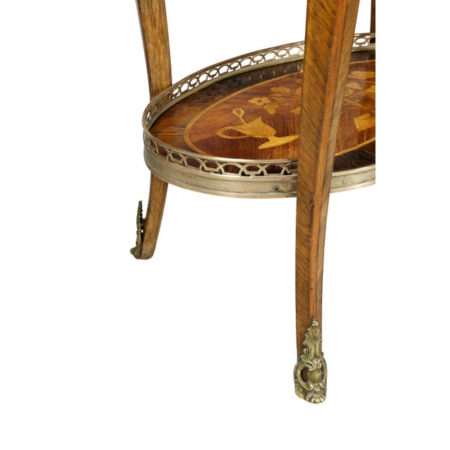 Gold Louis XVI Style Marquetry Table A' Ecrire For Sale - Image 8 of 13