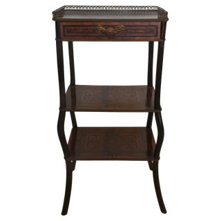 1880 French Inlaid Three Tiered Stand For Sale