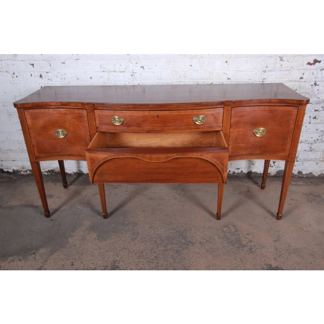 Metal Kittinger Inlaid Mahogany Sideboard Credenza For Sale - Image 7 of 13