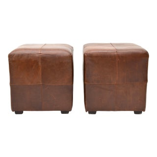 Mitchell Gold for Restoration Hardware Leather Cube Ottoman Pair For Sale