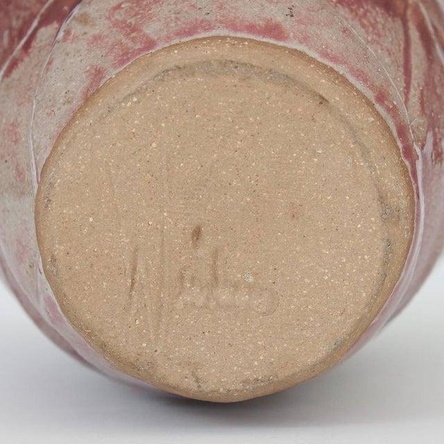 Layered Geometric Studio Pottery Vase For Sale - Image 9 of 10
