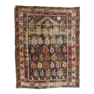 """Distressed Blue and Red Antique Caucasian Shirvan Prayer Rug 3'4""""x 4'8"""" For Sale"""