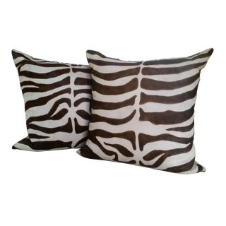 Boho Chic Oly Studio Hair on Hide Faux Zebra Pillows - a Pair For Sale