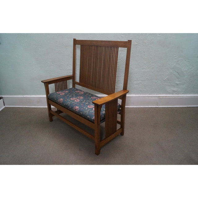 Stickley Mission Oak High Spindle Back Settee - Image 3 of 10