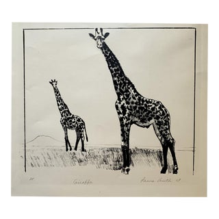 Vintage Mid-Century Laura Smith Giraffe Lithograph Print For Sale