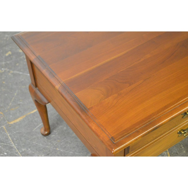 Harden Solid Cherry Pair of Vintage Square Queen Anne End Tables For Sale In Philadelphia - Image 6 of 10