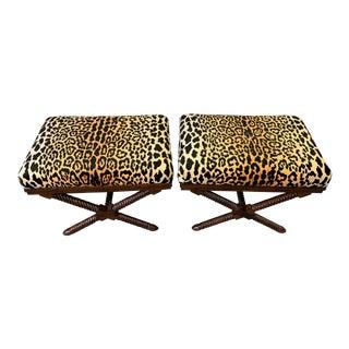 1970s Vintage Palecek Hollywood Regency Velvet Leopard X Benches -A Pair For Sale