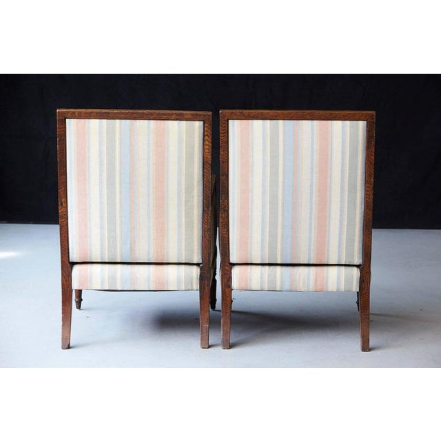 Pair of Italian Neoclassical Style Bergères in Pastel Striped Moiré Taffeta For Sale In New York - Image 6 of 10