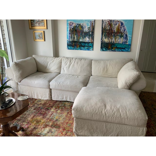 Pottery Barn White Upholstered Air Sectional Sofa