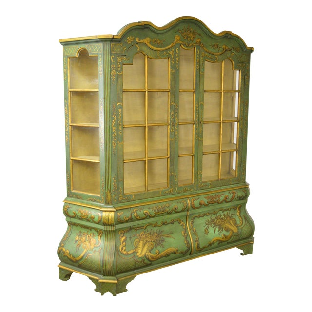 Italian Hand Painted Large Bombe Bookcase Breakfront For Sale