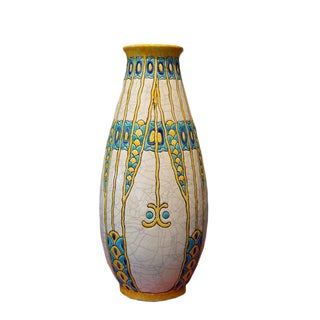 1920s Charles Catteau Three Color Patterned Vase For Sale