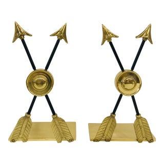 Brass Arrow Bookends - A Pair