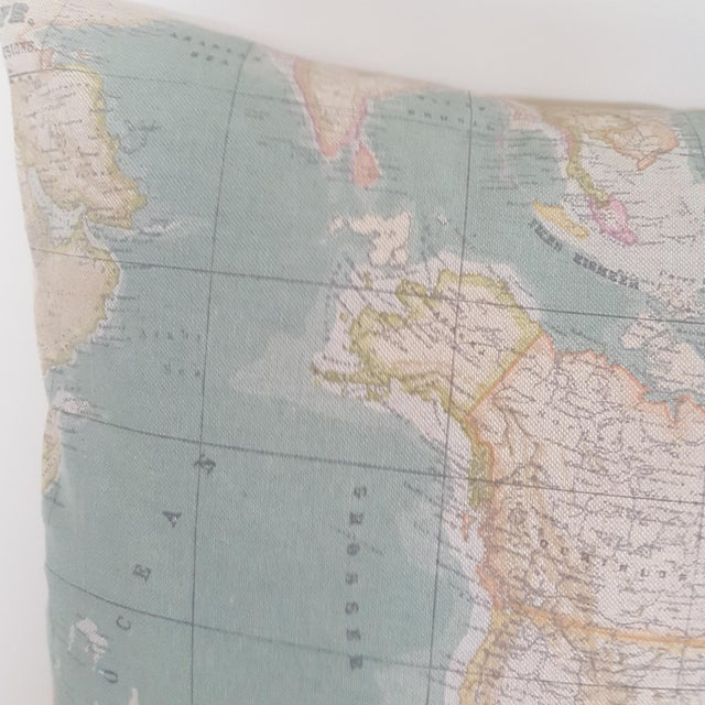 Blue North America Map Square Pillow For Sale - Image 8 of 12