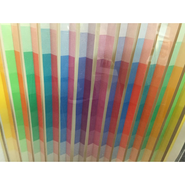 Anne Youkeles Op Art 1970 Cascade II Signed Lmt Ed Mixed Media For Sale - Image 4 of 10