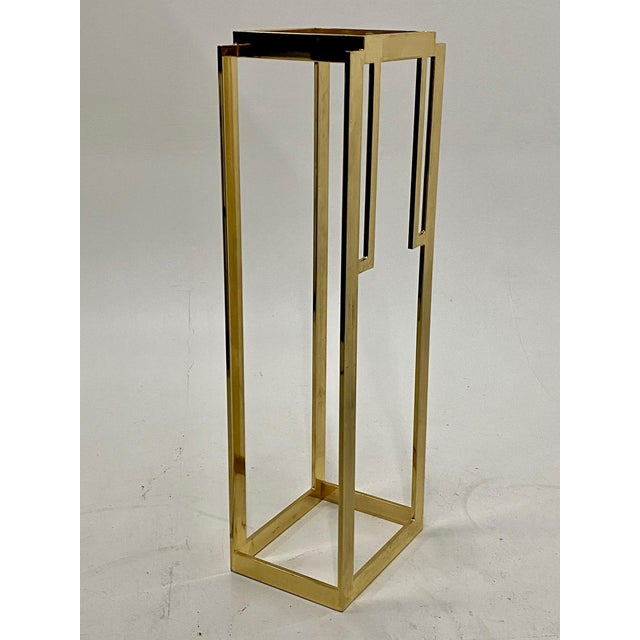 Mid-Century Modern Mastercraft Hollywood Regency Style Patinated Brass Pedestal For Sale - Image 3 of 8