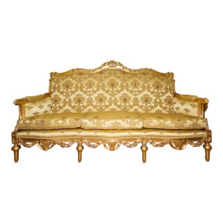 Gold Tone Italian Baroque Sofa For Sale