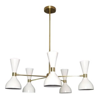 "Blueprint Lighting ""Ludo"" White Enamel + Brass Pendant Light For Sale"