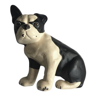 Antique French Bulldog Iron Doorstop For Sale