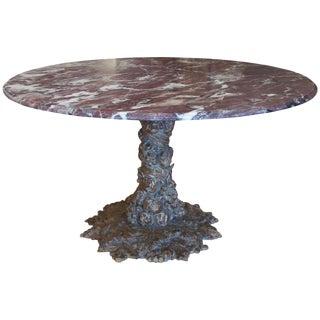 1960s Italian Hand Carved Marble Top Table