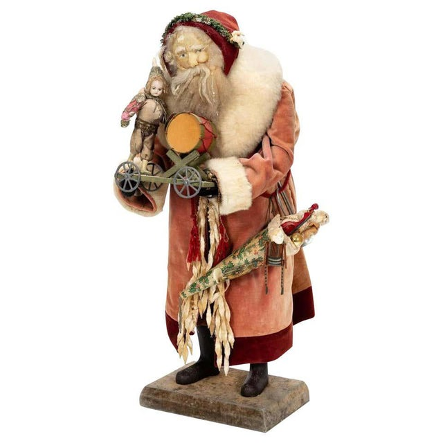 Red Large Vintage Father Christmas Figure For Sale - Image 8 of 8