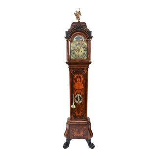 Mid-18th Century Dutch Inlaid / Bronze Tall Case Clock With Moon Phase For Sale