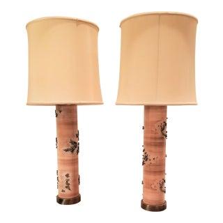 Antique Industrial Fabric or Wallpaper Printing Roller Lamps With Shades - a Pair For Sale
