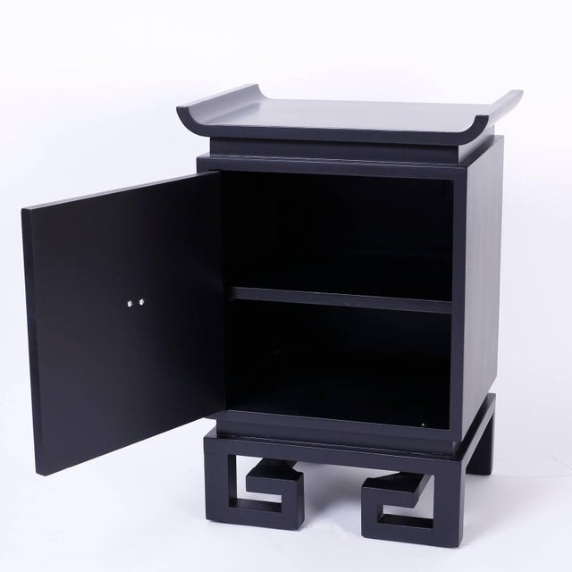 Mid-Century Black Lacquered Bedside Chests or Nightstands - A Pair For Sale - Image 4 of 10
