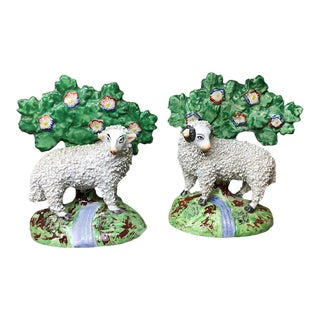 1840 Staffordshire Pearlware Bocage Sheep Figurines - A Pair For Sale