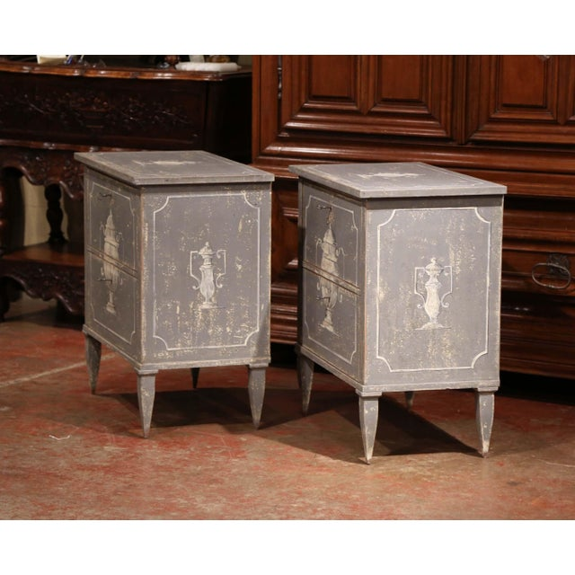 Early 20th Century French Painted Nightstands or Commodes - a Pair For Sale - Image 9 of 11