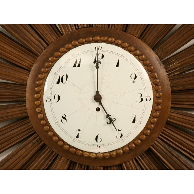 French Sunburst Clock with Porcelain Face For Sale - Image 9 of 11