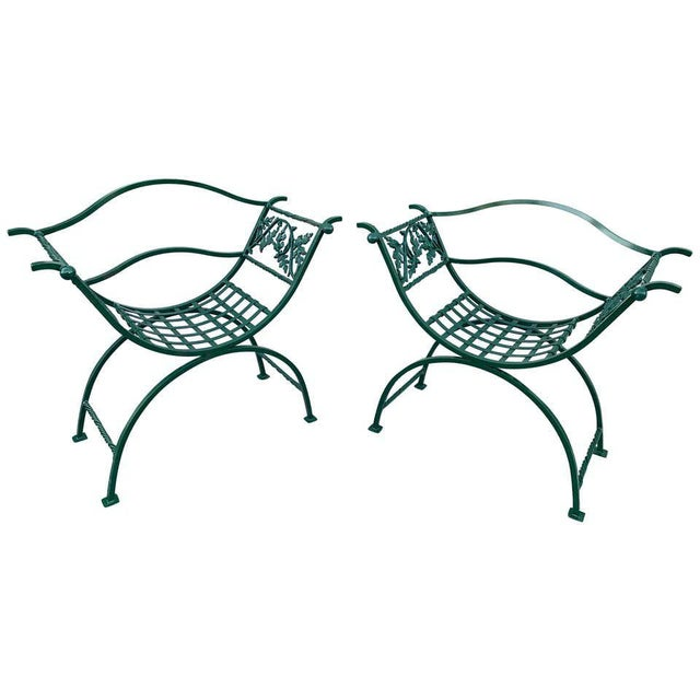 Wrought Iron Oak Leaf Motif Curule Benches, Provenance Celine Dion - a Pair For Sale - Image 9 of 9