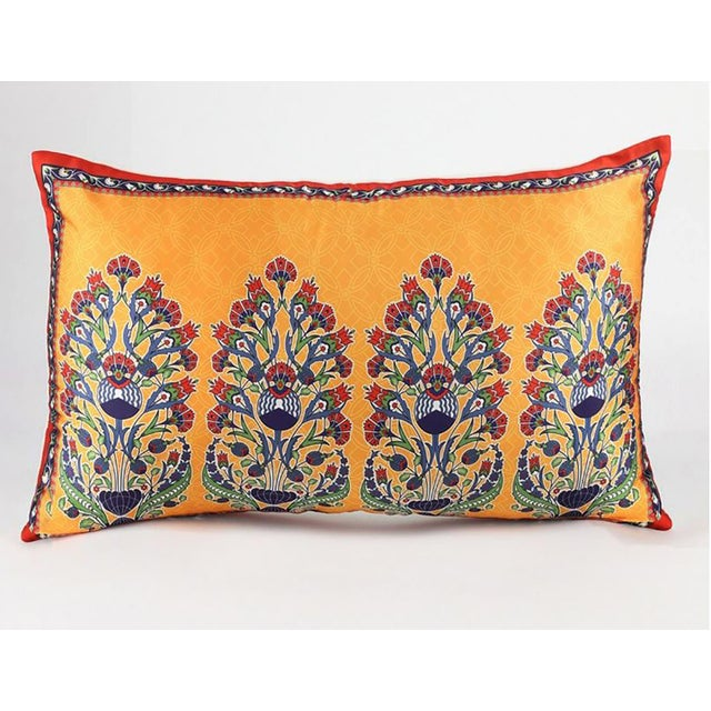Bohemian Silk Cushion Orange Red - a Pair For Sale - Image 9 of 9