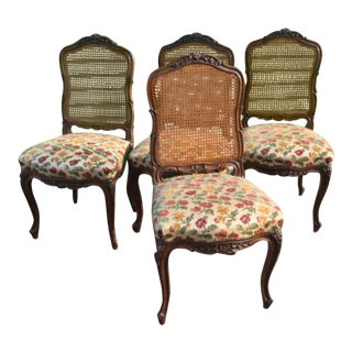 Early 20th Century Vintage French Provincial Carved Oak Dinning Chairs- Set of 4 For Sale