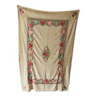 """Bohemian Style Embroidery Floral Design Tablecloth 54"""" X 84"""" For Sale"""