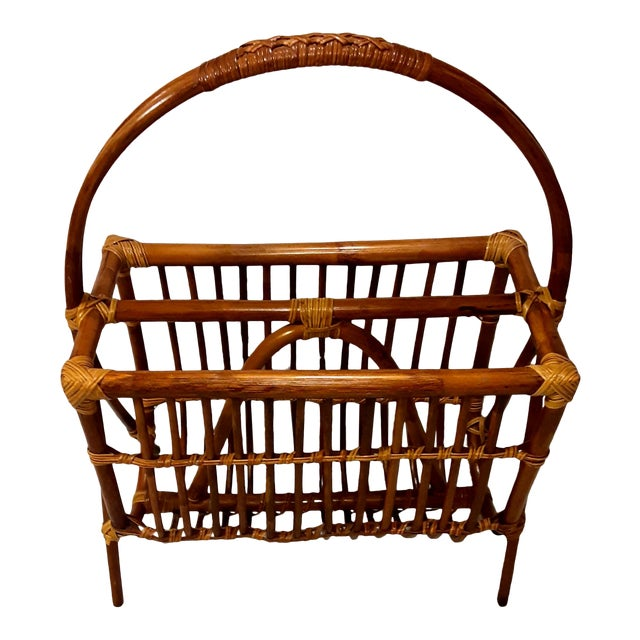 Vintage Mid Century Modern Franco Albini Style Rattan & Bamboo Magazine Rack For Sale