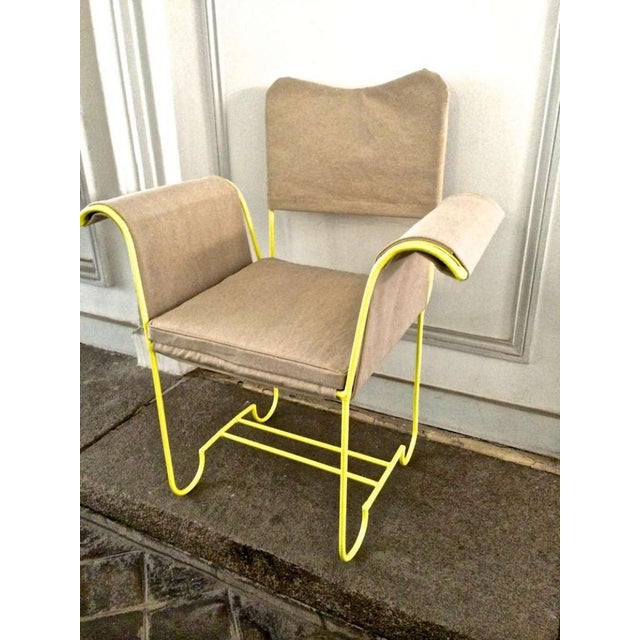 """Mathieu Mategot Rare Set of 4 Arm Chairs Model """"Tropiques"""" For Sale - Image 6 of 7"""