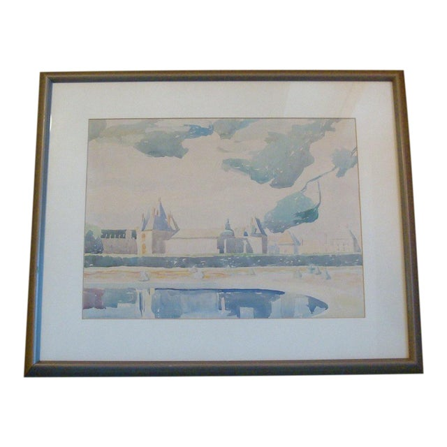 French Château Watercolor Landscape Painting For Sale