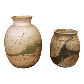 Signed Stoneware Pottery Vases - a Pair For Sale