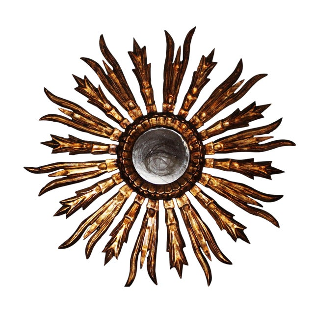 Antique French Gold Gilt Sunburst Mirror For Sale