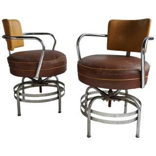 American Art Deco / Machine Age Tubular Chrome Swivel Armchairs - A Pair For Sale